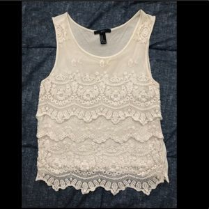 Off-white lacy Forever 21 tank top